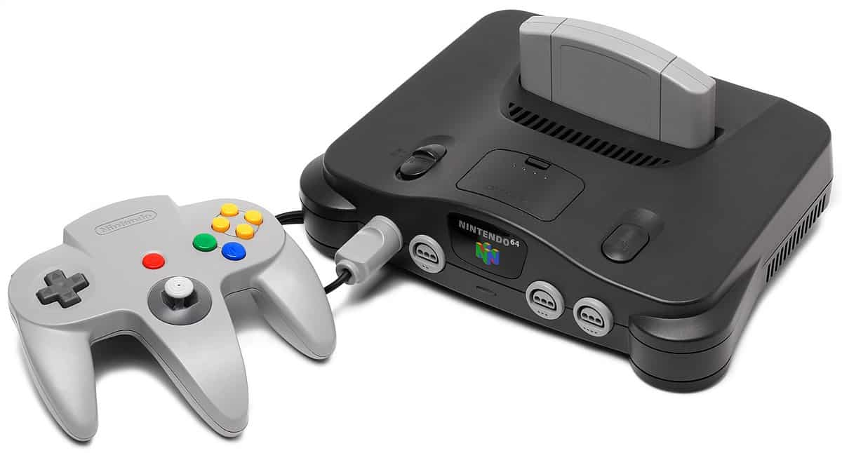 An image the nintendo 64 console with its controller