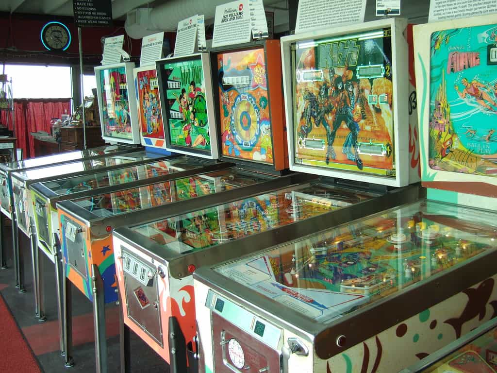 An image showing a room full of arcade machines