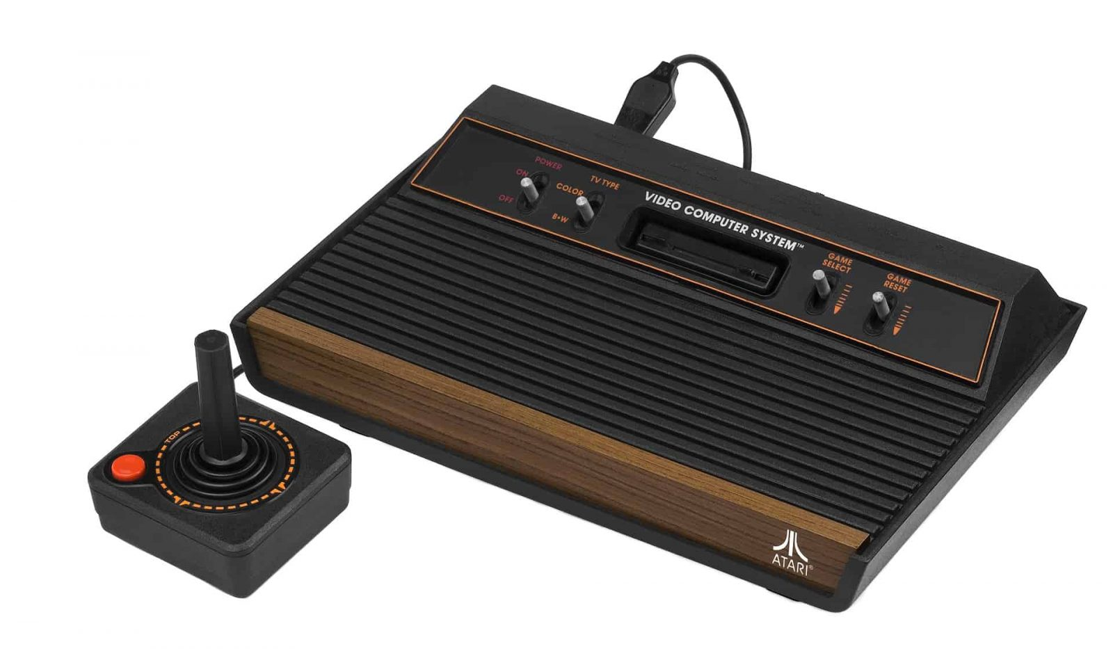 An image showing a retro Atari console with a single joystick style controller
