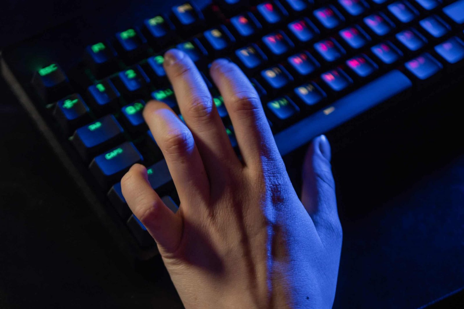 An image showing a person on a computer